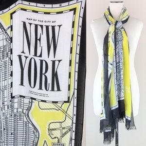 Kate Spade New York Map Scarf Black Yellow NWT